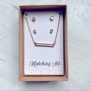 Urbanology Gold White Earrings Necklace Gift Set